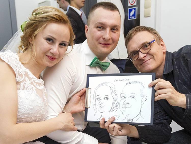 karykaturzysta na wesele karykatury cena atrakcje weselne