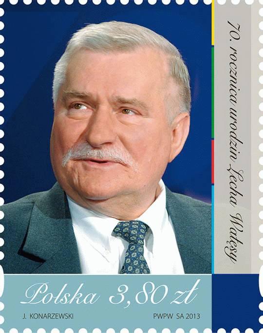 Lech Wałęsa na znaczku pocztowym