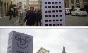Podróżujący symbol uśmiechu we Florencji
