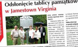 Polacy uhonorowani w Jamestown, Virginia, USA