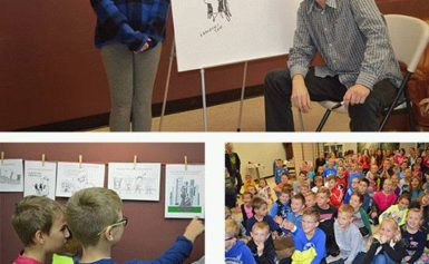 Polski karykaturzysta w szkole w South Hackensack, NJ