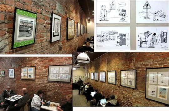 Rysunki Sadurskiego w Starbucks na Brooklynie, NYC