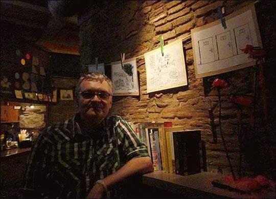 Rysunki i karykatury Sadurskiego w Barcelonie