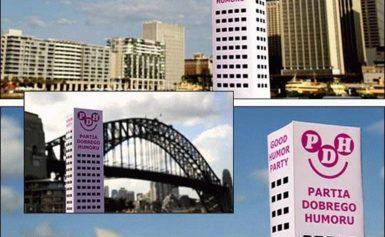 Wesoły wieżowiec odwiedził Sydney