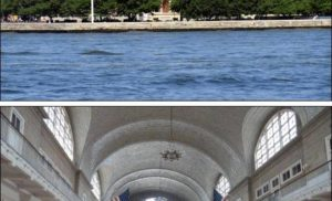 Wyspa Ellis Island obok Manhattanu