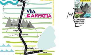 Szlak drogowy Via Carpatia na znaczku